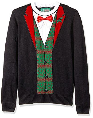 [Ugly Christmas Sweater Men's Applique' -Christmas Tux, Black, L] (Tux Kit)