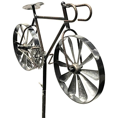 Bicycle Garden (Whole House Worlds The Americana Racing Bike Garden Wind Spinner, Vintage Style, Stake Decoration, Silver With Antiqued Finish, 4 Feet 3 Inches Tall (130cm) By)
