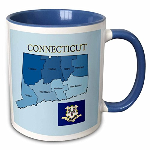 3dRose 777images Flags and Maps - States - Flag and map of the state of Connecticut with counties labeled - 15oz Two-Tone Blue Mug (mug_173431_11)