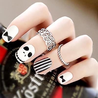 Jovono - Juego de uñas postizas, diseño con motivos de Halloween ...