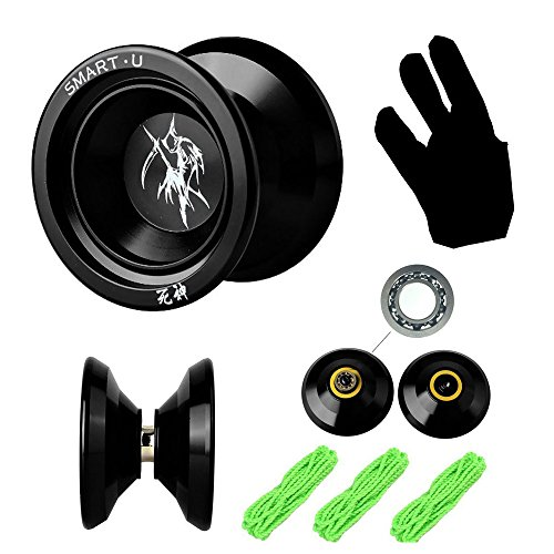 YoYos of 2017 Beboo Yo-Yo God of Death Alloy Aluminum Pro Yoyos Unresponsive,Metal YoYo balls Bearing SmartU SU-02 (Black Metal Yoyo)
