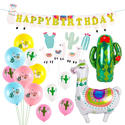 Llama Party Supplies, Birthday Party Decorations with Large Llama Cactus Foil Balloons, Latex Balloons, Cupcake Topper, Happy Birthday Banner for Baby Shower Home -