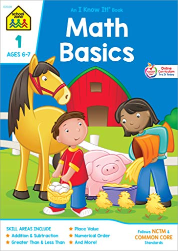 School Zone - Math Basics 1 Workbook - 32 Pages, Ages 6 to 7, Grade 1, Addition, Subtraction, Greater Than, Less Than, Comparing, and More (School Zone I Know It!® Workbook Series) ()