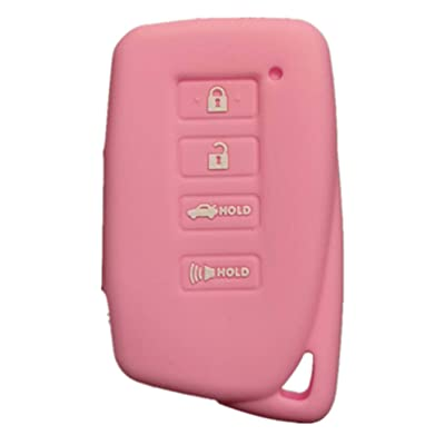 RUNZUIE Silicone Keyless Entry Remote Key Fob Cover Case Protector Shell xus NX300h ES350 Gfor LeS350 GS300h GS450h Pink 4 Buttons: Automotive