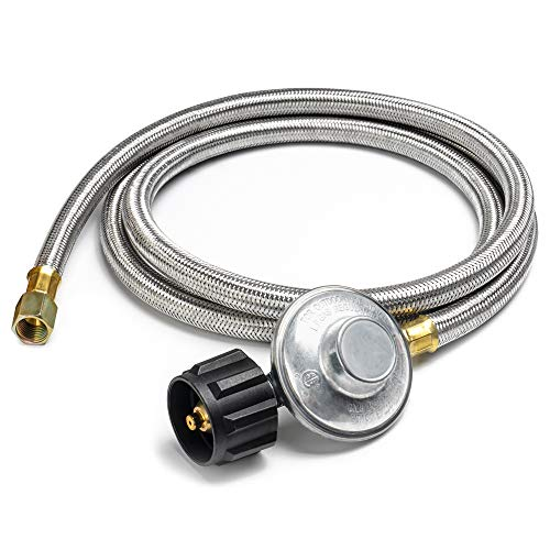 (X Home 6 Feet Braided Propane Regulator with Hose Stainless Steel Pipe for QCC1 LPG Tank and LP Gas Grill, Heater, Fire Pit, Generator and More, 3/8'' Female Flare Fitting, 11 w.c. - CSA (72 inch))