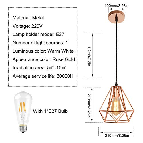 NANGE Modern Chandelier,Personality Plating Rose Gold Pendant Lights,Kitchen Island Table Dining Room Bedroom Entryway Hanging Lamp,E27(Without Light Source) (Color : AC 110V, Size : Gold) by NANGE (Image #1)