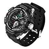 ETEVON Men's 'Galaxy' Double Buckle Stable Type Analog digital Watch Alarm EL Luminous Two Time Zone Waterproof, Fashion Outdoor Sport Watches for Men