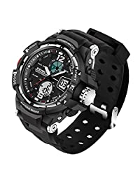 ETEVON Men's 'Galaxy' Double Buckle Stable Type Analog digital Watch Alarm EL Luminous Two Time Zone Water Resistant, Fashion Outdoor Sport Watches for Men