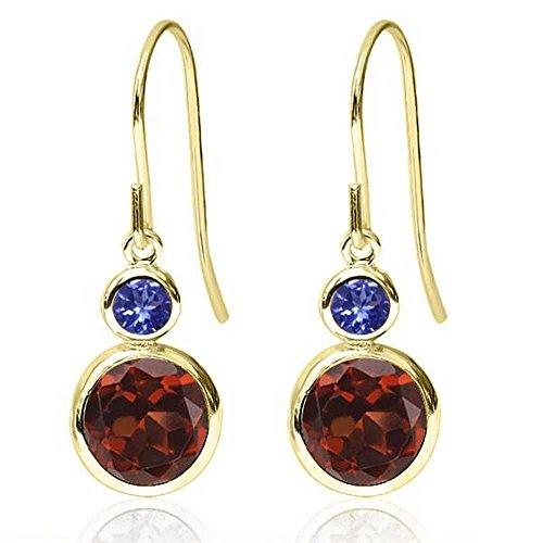 14k Tanzanite Jewelry Set - Gem Stone King 2.24 Ct Round Red Garnet Blue Tanzanite 14K Yellow Gold Earrings