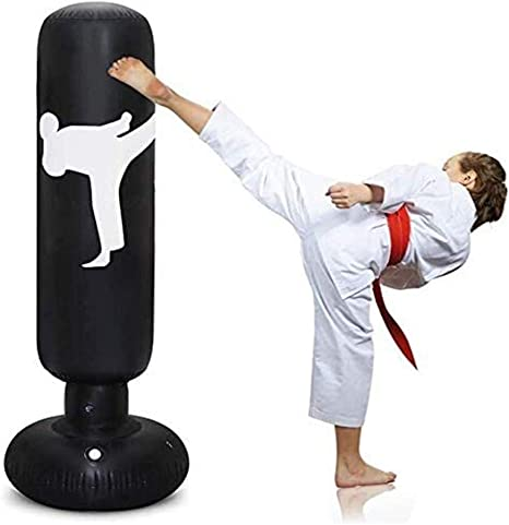 Inflatable 160cm &Pump Boxing Punch Bag Freestanding Punching Bag for Kid Adult