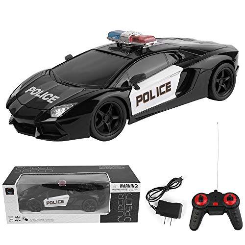 Blue Block Factory Remote Control Police Car, Exotic Ferrari, 4 Channel Control, Police Lights, 1:16 Scale, Enforcement