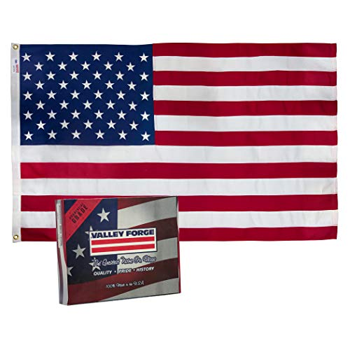 Valley Forge, American Flag, Spun Polyester 2-Ply, 2.5'x4', 100% Made in USA, Sleeved Flag