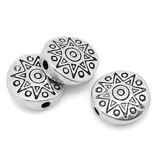 (50pc Antiqued Silver Sun Pattern Carved Round Spacer Beads 10mm Beading Supplies)