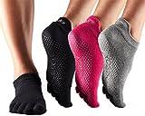 ToeSox Full Toe Low Rise Grip Yoga Socks 3 Pack (Black/Heather Grey/Fuchsia, M) Review