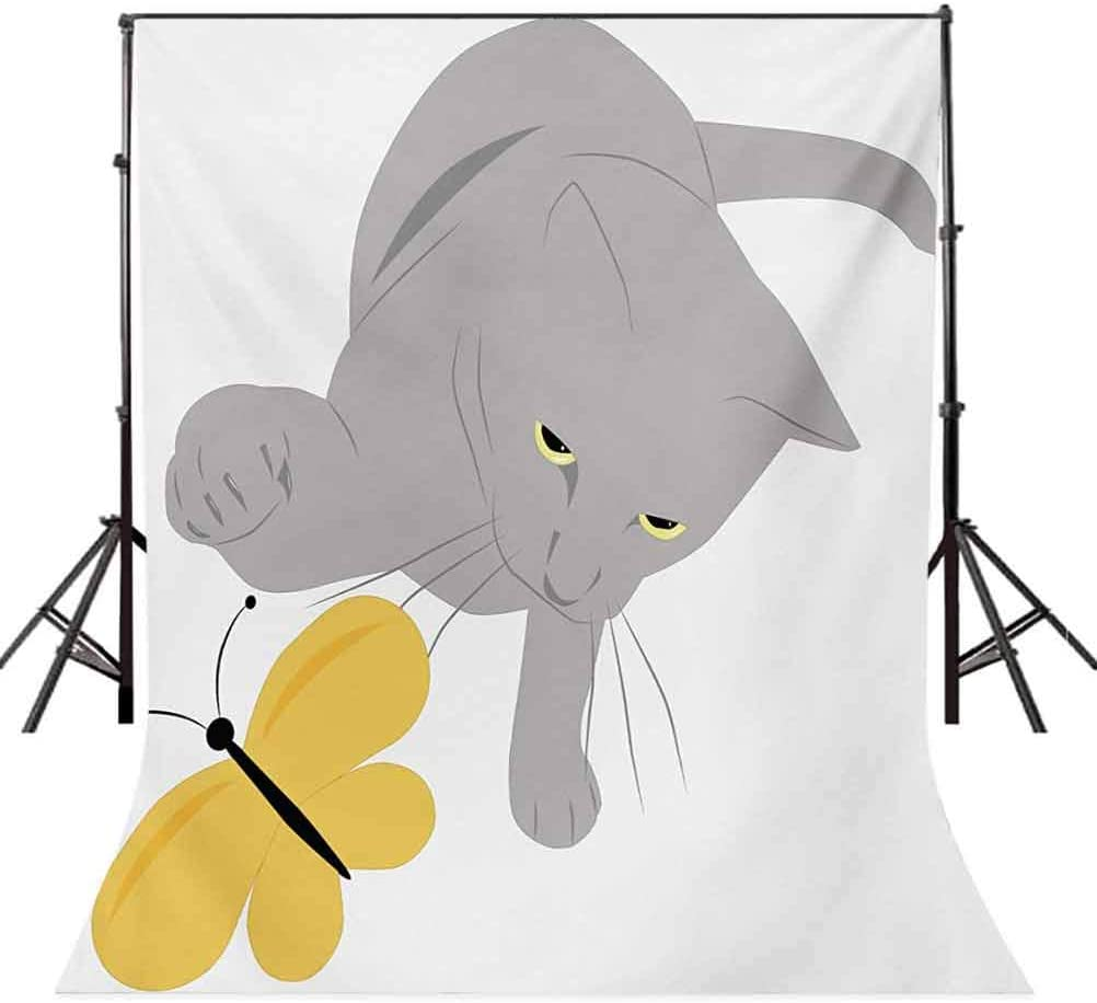 6.5x10 FT Photography Backdrop Cat Pet Feline Best Friend Playing with Spring Butterfly Print Background for Kid Baby Boy Girl Artistic Portrait Photo Shoot Studio Props Video Drape Vinyl