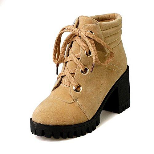 AgooLar Damen Rein Hoher Absatz Ziehen auf Rund Zehe Stiefel mit Schleife, Gelb, 34