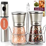 #6: The Sapores Salt and Pepper Shakers with Matching Stainless Steel Stand and Vinegar Sprayer - Salt and Pepper Grinder Set with Adjustable Coarseness - Pepper Grinder - Pepper Mill