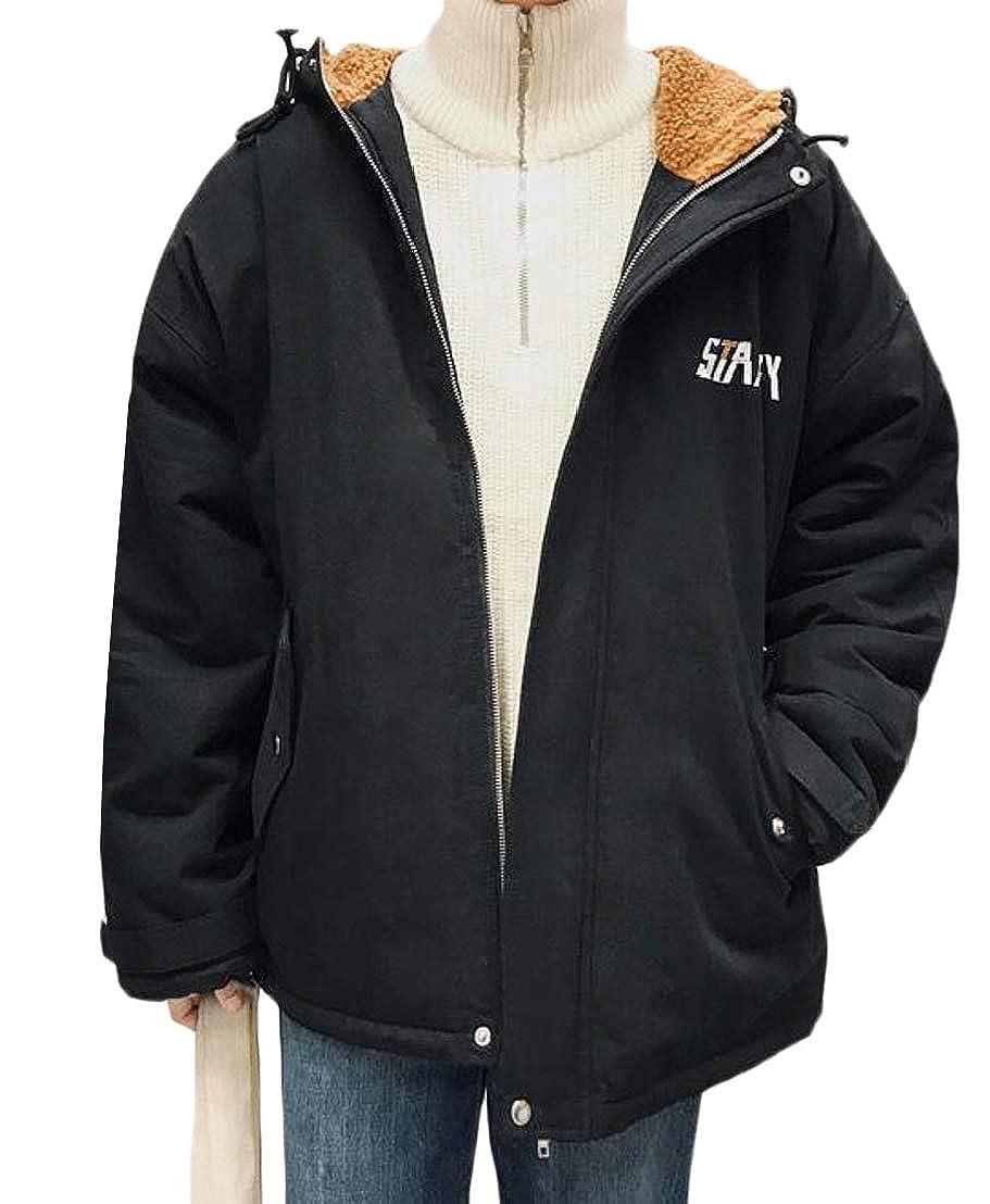 Jofemuho Men Loose Fit Plus Size Zipper Thickened Thermal Hoodie Down Coat Jacket Outerwear