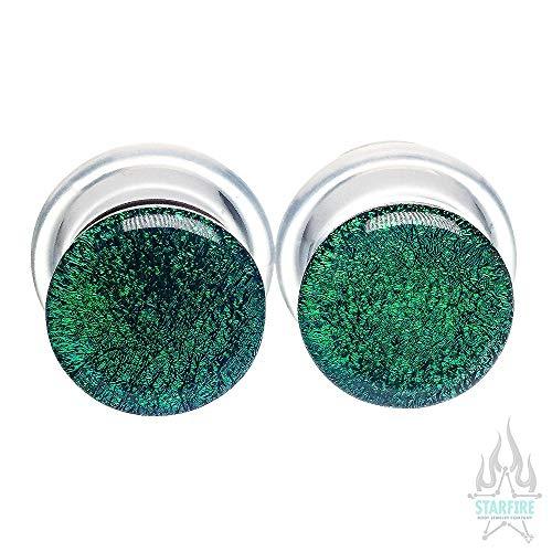 Buddha Jewelry Organics Single-Flared Glass Dichro Plugs - Green, 00 ga.