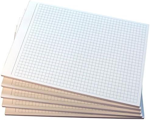 4x Notizblock kariert - 5mm Kästchen - Notizen - 50 Blatt, DIN A6, 50 Blatt, Qualitäts-Offset-Papier 80g/m² -Grau (22212)