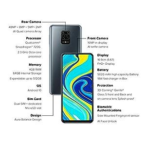 Redmi Note 9 Pro (Interstellar Black, 4GB RAM, 64GB Storage) – Latest Snapdragon 720G & Gorilla Glass 5 Protection