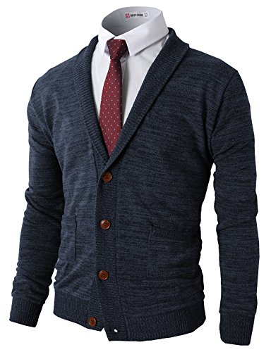 H2H Mens Basic Colors Shawl Collar Knitted Cardigan Sweaters NAVY US L/Asia XL (CMOCAL07)
