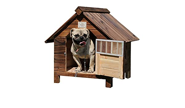 Amazon.com : SL&ZX Outdoor solid wood dog house, Rain waterproof charcoal wooden dog house doghouse cat litter pet nest kennel-A XXL : Garden & Outdoor