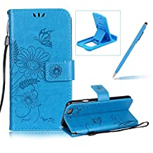 Strap Leather Case for iPhone 6S,Wallet Flip Case for iPhone 6,Herzzer Bookstyle Stylish Brilliant Blue Butterfly Sunflower Ants Pattern Stand Magnetic Smart Leather Case with Soft Inner for iPhone 6/6S 4.7 inch + 1 x Free Blue Cellphone Kickstand + 1 x Free Blue Stylus Pen