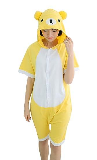 d8af7e15f6 Tonwhar Summer Cartoon Animal One Piece Pajamas Cosplay Costume Adult  Sleepwear (S(150-