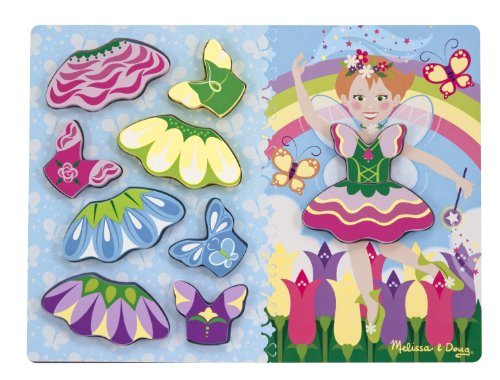 Melissa & Doug Fairy Dress-Up Wooden Chunky Puzzle (10 (Wooden Fairy Castle)