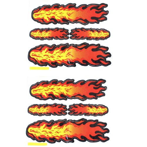 uxcell® Automobile Adhesive Fire Flame Decal Sticker Orange Red Yellow Pair