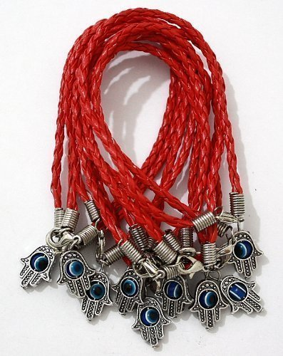 """Lot of 10 – """"Lucky"""" HAMSA Red String Kabbalah Bracelets with Braided String and Rotating """"Evil Eye"""" Hamsa Hand – Jewish Judaica Amulet Pendant Jewelry for """"Success and Protection"""""""