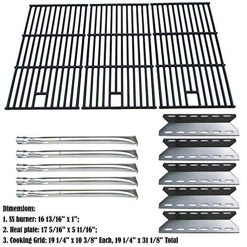 Direct store Parts Kit DG108 Replacement Nexgrill 720-0025 Gas Grill Burner, Heat Plate, Cooking Grid (Stainless Steel Burner + Porcelain Steel Heat Plate + Porcelain Cast Iron Cooking Grid) (Grid Burner)