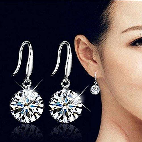 Fashion Crystal Elegant 925 Sterling Silver Women Rhinestone Ear Stud (Aqua Brass Cut Collection)