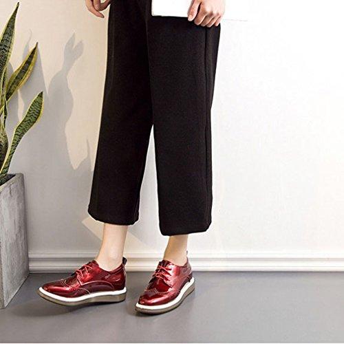 Hoxekle Mode Kvinnor Svart Grå Röd Perforerat / Glansigt / Vingspets Oxford Skor / Tappning Oxford Skor Röd