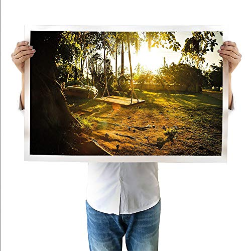 SATVSHOP Art Work Painting Forest Home Evergreen Back Nature Area Mother Earth Lime Trunk Mangrove Flora Willow Green.Suitable for bedrooms,Living Rooms,corridors-23.6Wx47.2L