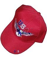 Patriotic Baseball Cap RED Flying Bald Eagle Hat American Flag United States