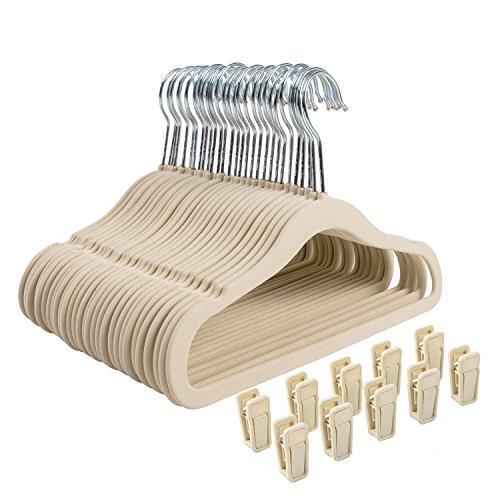 Finnhomy Non-slip Clothes Hanger for Baby and Kids 30-Pack Velvet Hangers with 10 Finger Clips,Beige (Baby Coat Hangers)