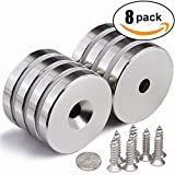 Mascot Neodymium Disc Countersunk Hole Magnets Round Base Magnets 88LB Diameter 1.26 inches, with 8 Stainless Steel Screws