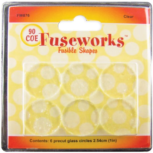 6-Pack Fuseworks Ebony and Ivory Fusible Glass Shapes 1-Inch Round Disks Black//White