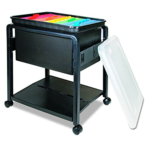 (Advantus Folding and Rolling File Cart with Lid, Letter or Legal Size, Black (55758))
