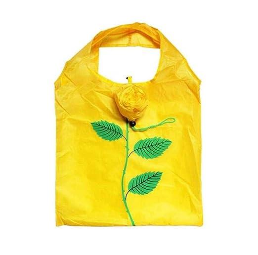 Rose Eco Bag, Bolsas de Compras Plegables Bolsas de Hombro Reutilizables Impermeables para Compras en el hogar Cocina Uso Amarillo
