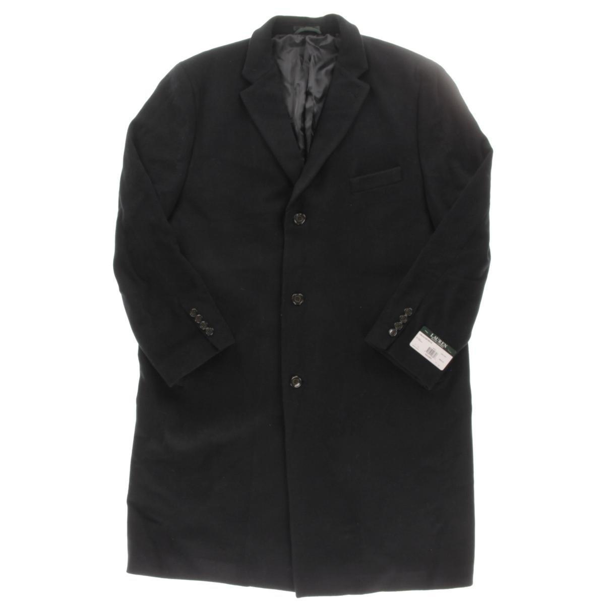 Lauren Ralph Lauren Mens Big & Tall Wool Notched Collar Top Coat Black 52L