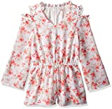 Ella Moss Big Girls' Cold Shoulder Floral Romper, Full Sail Floral, 10