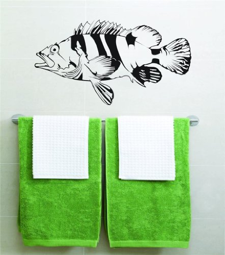 Design With Vinyl Black Sea Bass Fishing Vinyl Wall Decal...