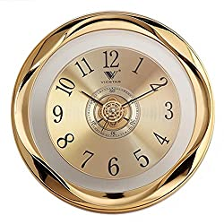 XSHION Wall Clock Silent, 12 Inch Quartz Vintage Living Room Decorative Round Battery Operated Non Ticking Wall Clocks