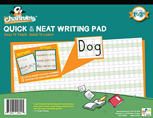 "Channie's Quick & Neat Writing Pad, Practice Handwriting & Printing Workbook, 80 Pages Front & Back, 40 Sheets, Grades 1st – 3rd, Size 8.5"" x 11"""