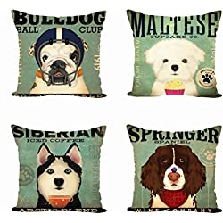 Jaytis Home Decorative Throw Pillow Covers Set of 4 Cotton Linen Cushion Covers Doggy Print 18 x 18 inch, Dogs