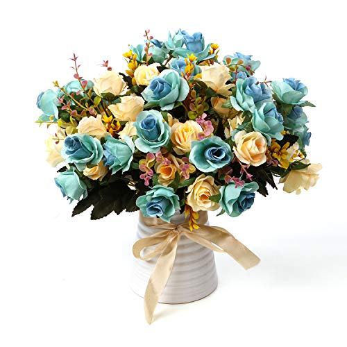 LY EMMET Artificial Rose Bouquets with Ceramics Vase Fake Silk Rose Flowers Decoration for Table Home Office Wedding-Blue (Centerpiece Flower Table Blue)