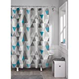 Maytex Vertex PEVA Shower Curtain, Blue/Grey